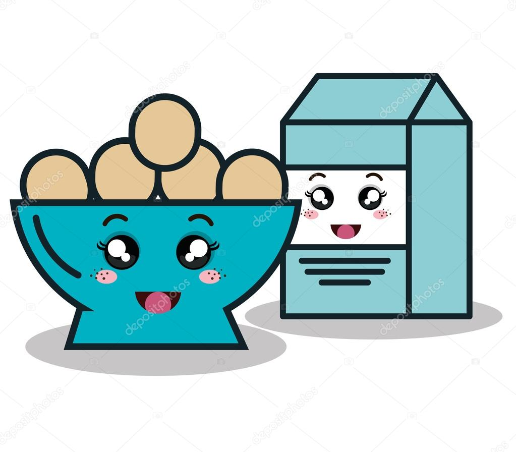 bowl full eggs with box milk cartoon isolated icon design u2014 stock