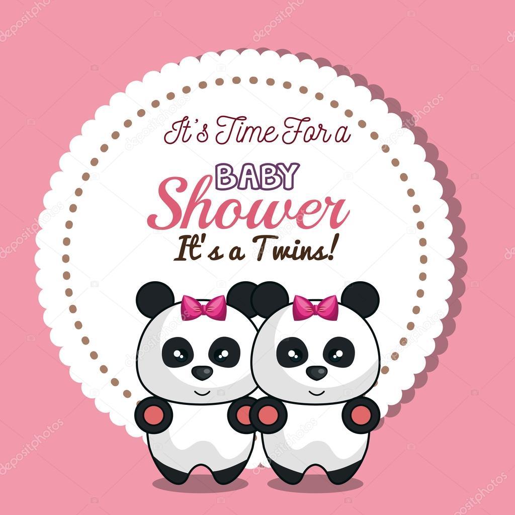 invitation twins girl panda baby shower card design — Stock Vector ...
