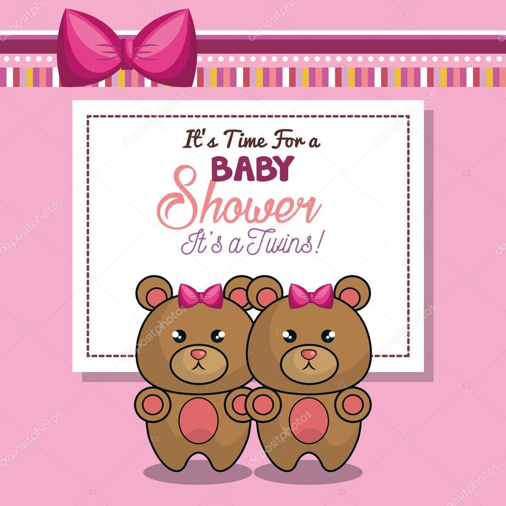 Invitation baby shower twins girl pink bear stock vector invitation baby shower twins girl pink bear stock vector filmwisefo