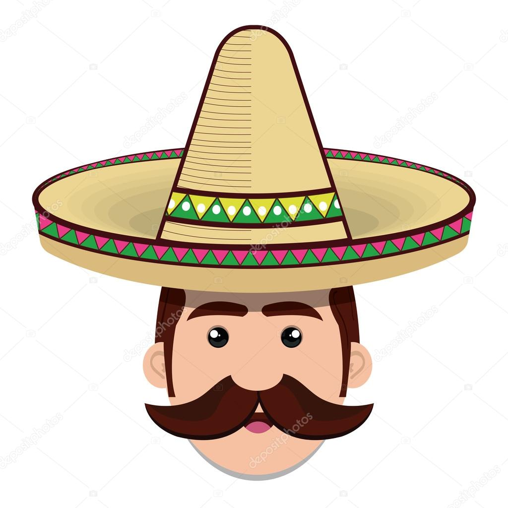 Mexican Man Head With Traditional Sombrero: Face Man Mexican Hat And Moustache Graphic Stock Vector