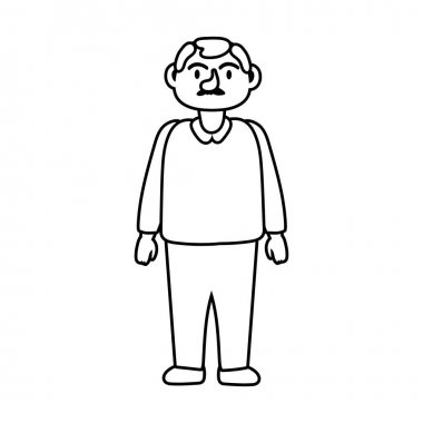 Old man person character line style icon vector illustration design icon