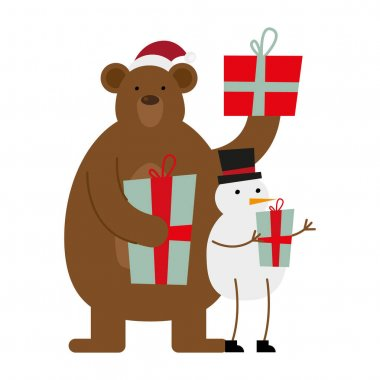 Cute bear wearing santa hat and snowman christmas characters vector illustration design stock vector