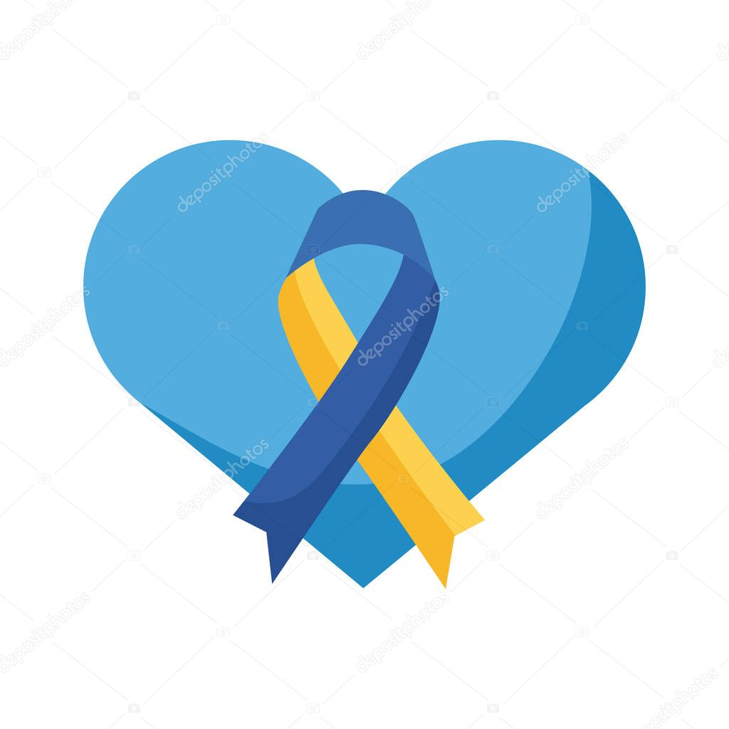 Down syndrome campaign ribbon in heart flat style icon vector illustration design icon