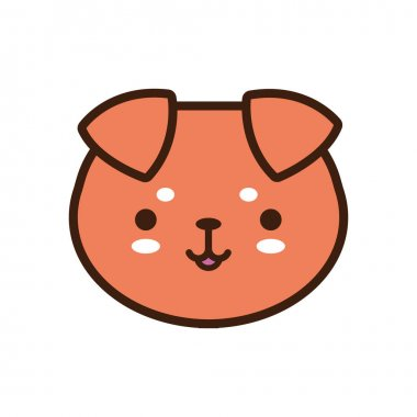 Cute little dog kawaii animal line and fill style vector illustration design icon