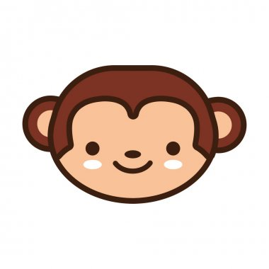 Cute little monkey kawaii animal line and fill style vector illustration design icon