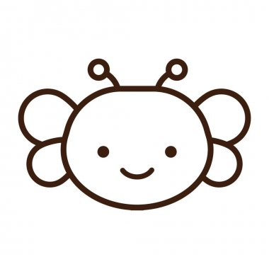 Cute little butterfly kawaii animal line style vector illustration design icon