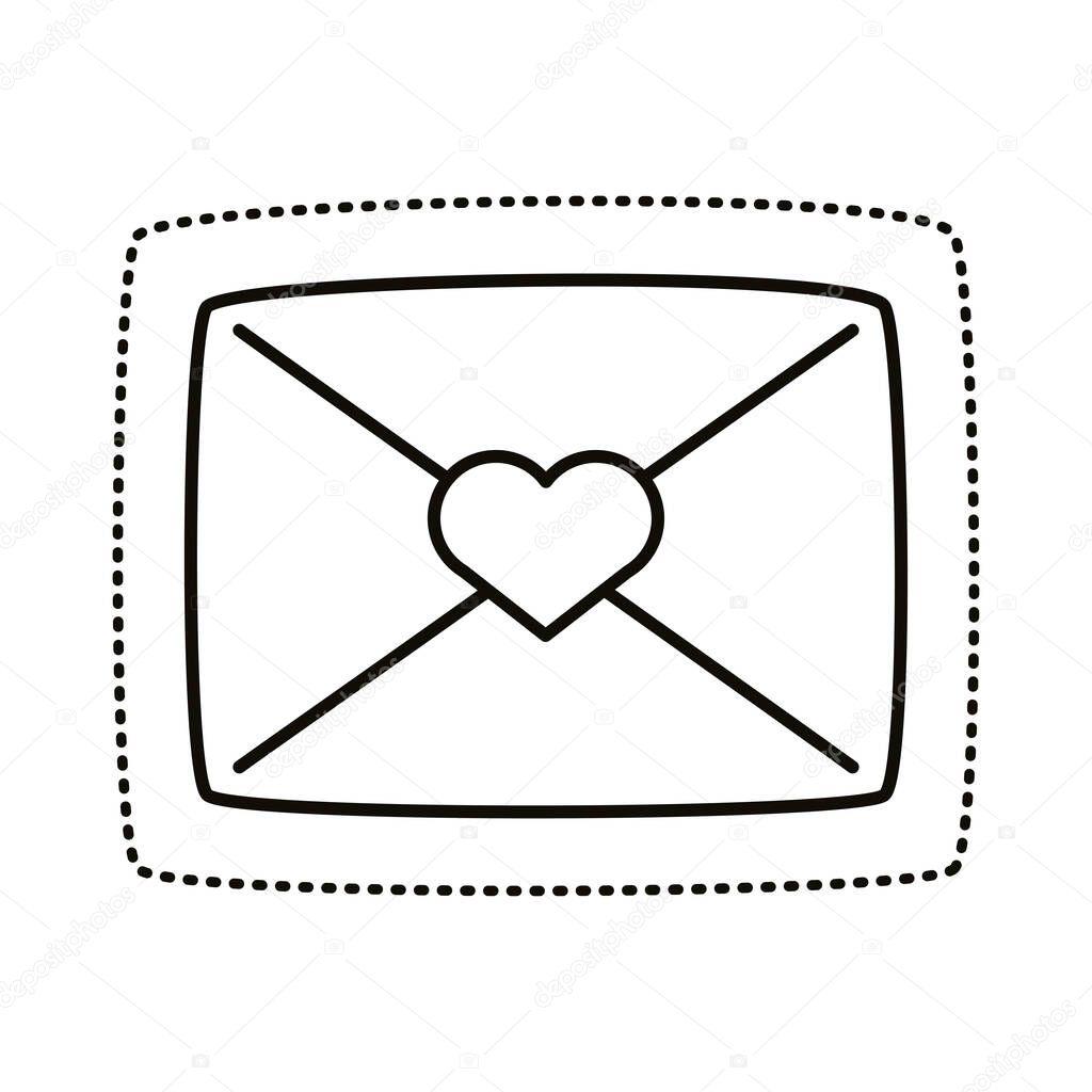 Romantic envelope sticker line style icon vector illustration design icon