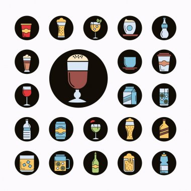 Bundle of twenty two beverages set icons vector illustration design icon