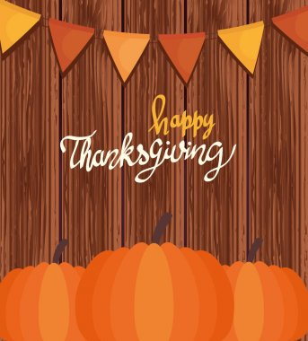 Happy thanksgiving celebration lettering card with garlands and pumpkin vector illustration design icon