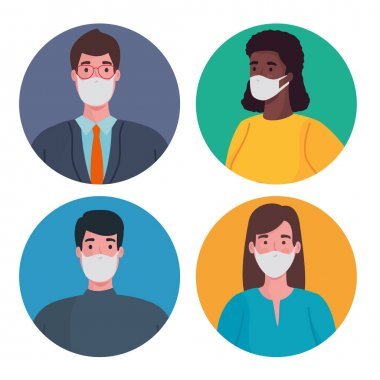 Group of interracial people wearing medical masks characters vector illustration design icon