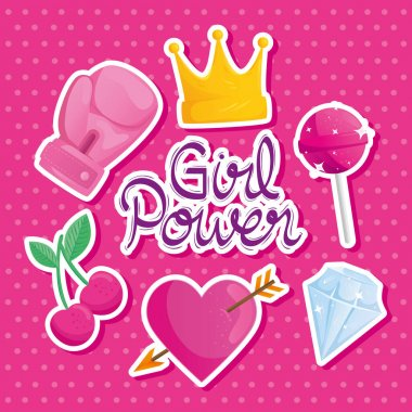 Girl power lettering with set icons vector illustration design icon