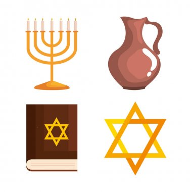 Happy hanukkah icon set design, holiday celebration judaism religion festival traditional and culture theme Vector illustration icon
