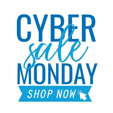 Cyber monday lettering with ribbon in white background vector illustration design icon