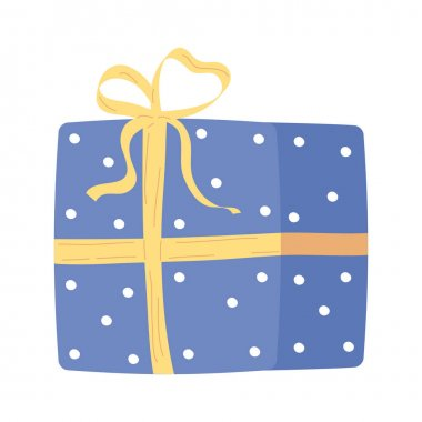 Blue giftbox present packing isolated icon vector illustration design icon