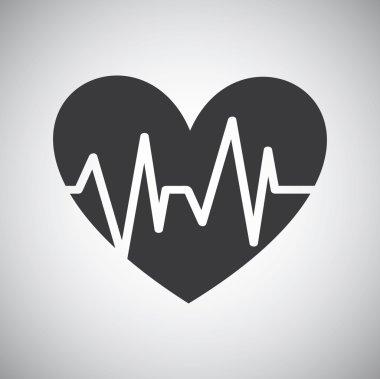 Heart icon with ekg line, vector design stock vector