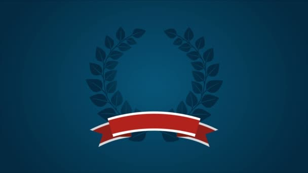 Laurel wreath and roibbon, USA background, Video animation, HD 1080