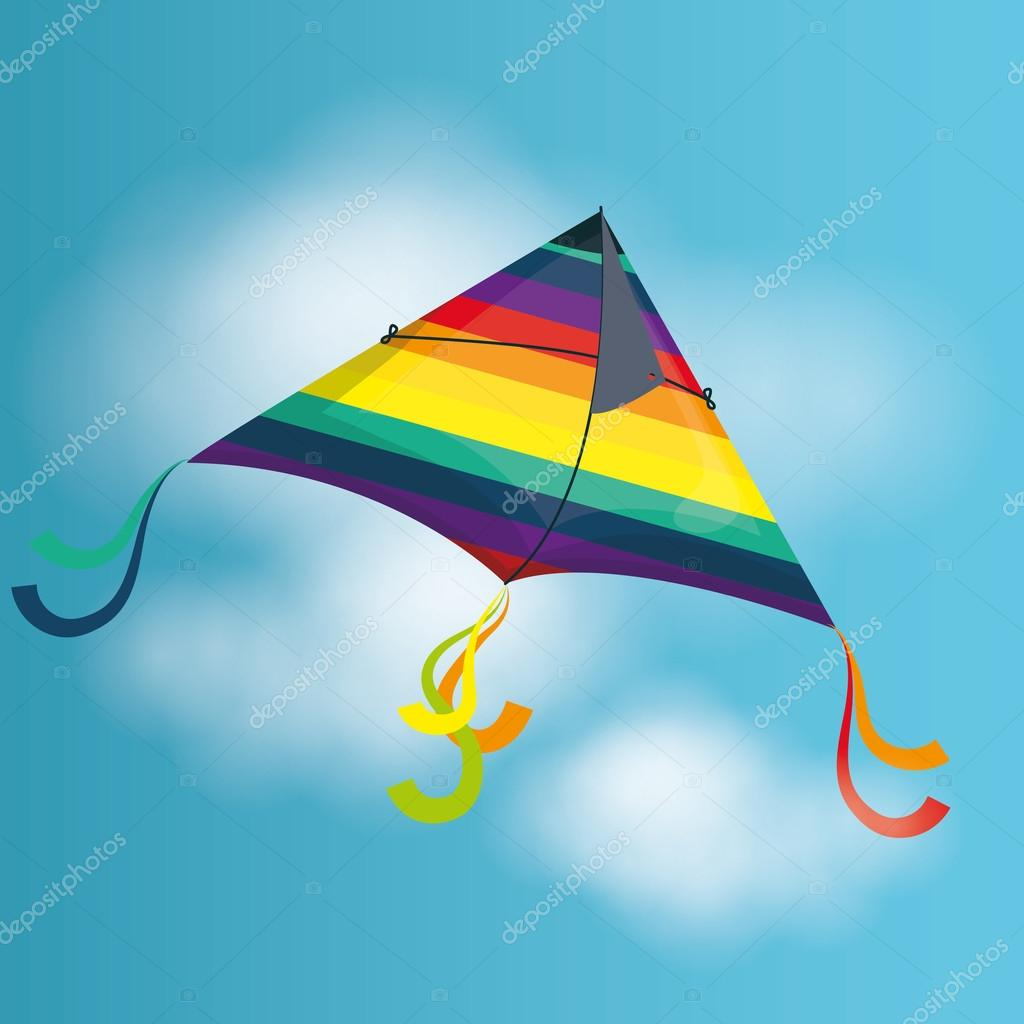Kite childhood games cartoon design, vector illustration. stock vector