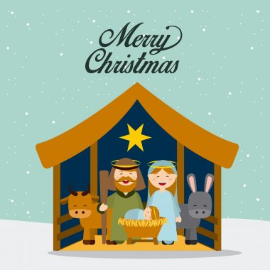 Christmas manger characters design, vector illustration eps10 graphic stock vector