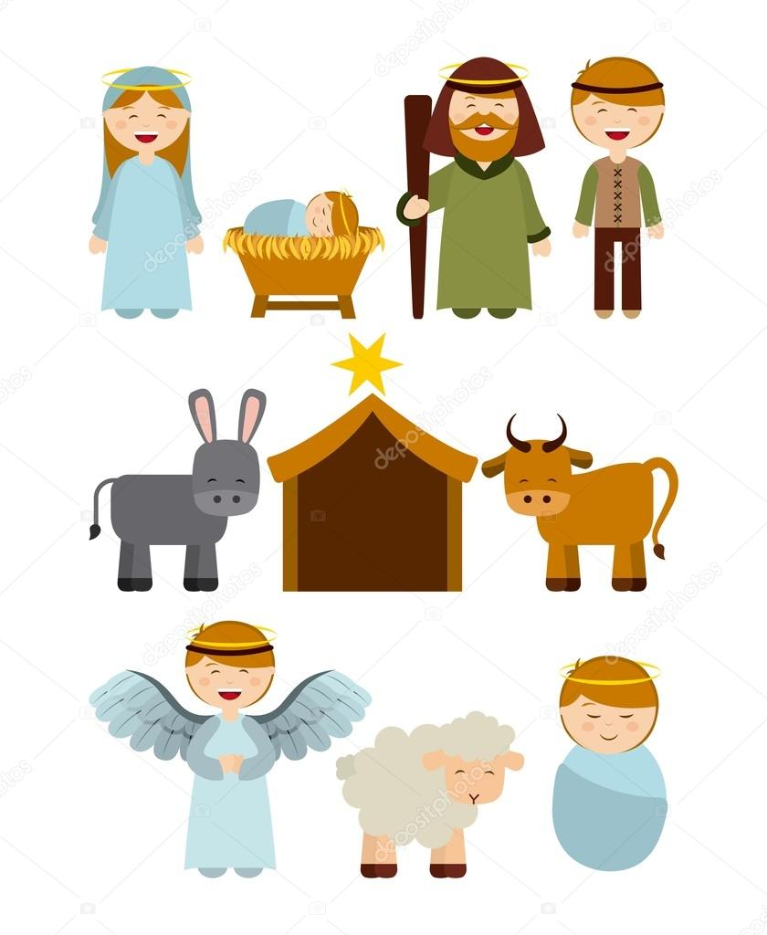 Personajes de pesebre de Navidad — Vector de stock © yupiramos #87158542
