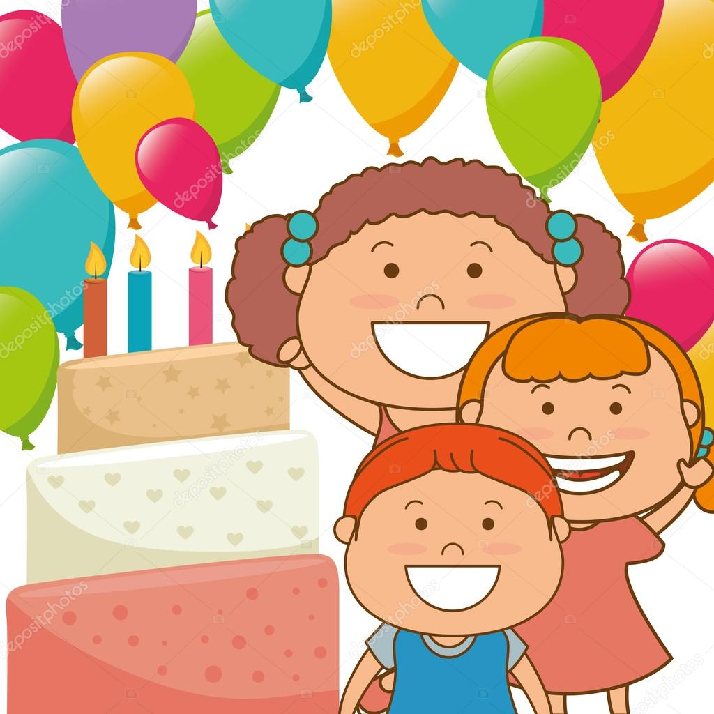 Kids Birthday Celebration Cartoon Stock Vector C Yupiramos 92085228