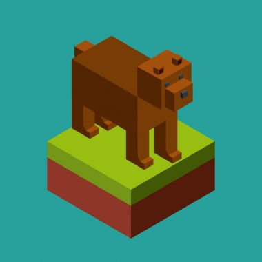 animal in pixels design