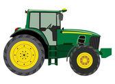 Zelený traktor vedlejší zobrazit na bílém pozadí