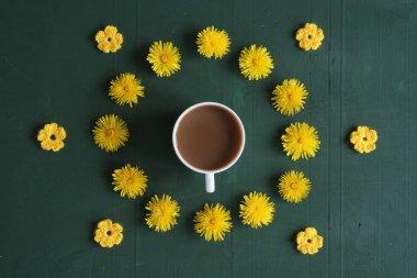 "Картина, постер, плакат, фотообои ""Кофе, одуванчики и вязаные цветы"", артикул 112853100"