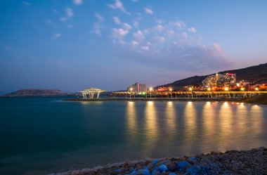 Evening at the Dead Sea. Southern hotels.
