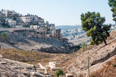 Quarter of Silwan in East Jerusalem. Field of blood in the backg