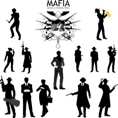 Male characters Silhouettes retro Mafia set