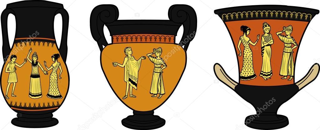 Vasi antichi greci utensil tre vettoriali stock for Vasi antichi