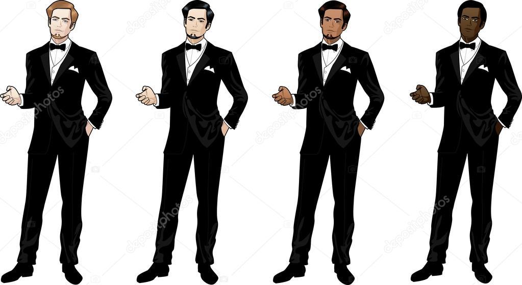 homem de terno preto e gravata borboleta � vetor de stock