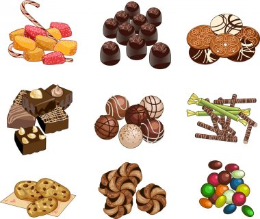 Candy shop set of candies chocolates and cookies