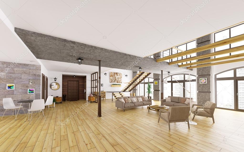 Moderne loft appartement interieur 3d render stockfoto for Loft appartement