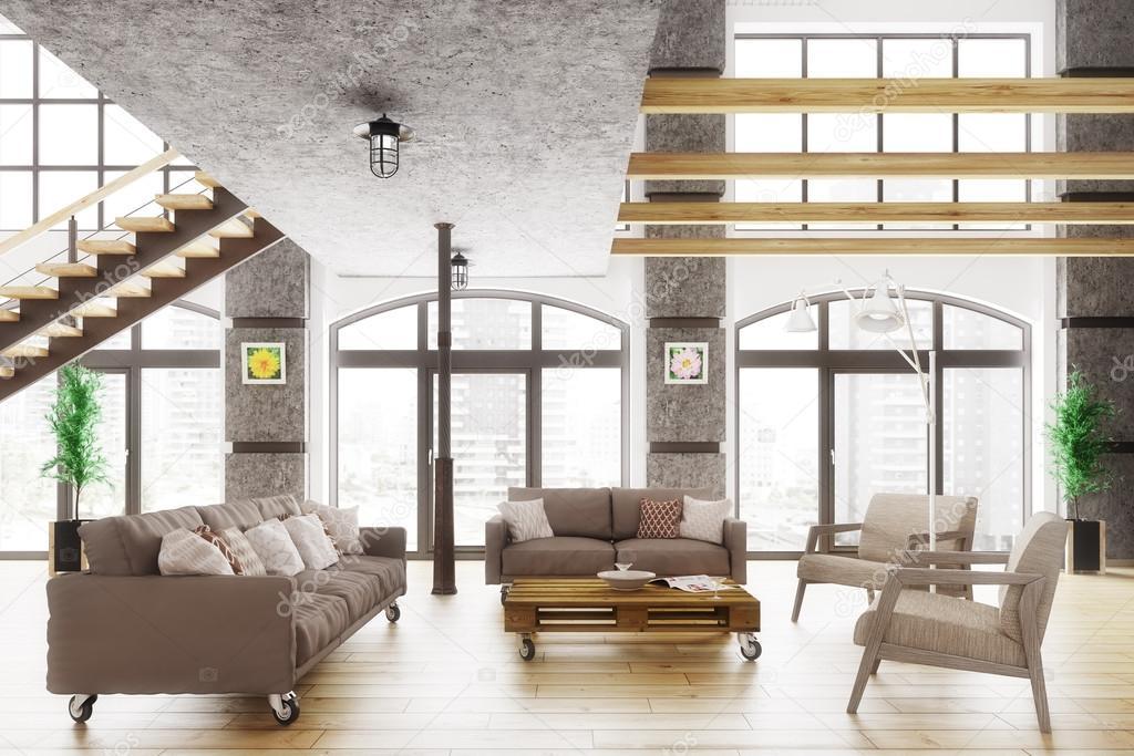 Moderne loft wohnung interior 3d rendern u2014 stockfoto © scovad #100875254