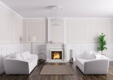 Classic interior of living room with sofas and fireplace 3d rend