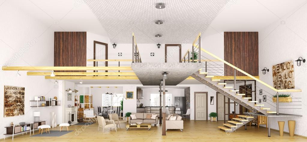 Interno appartamento moderno loft in taglio 3d render for Appartamento moderno