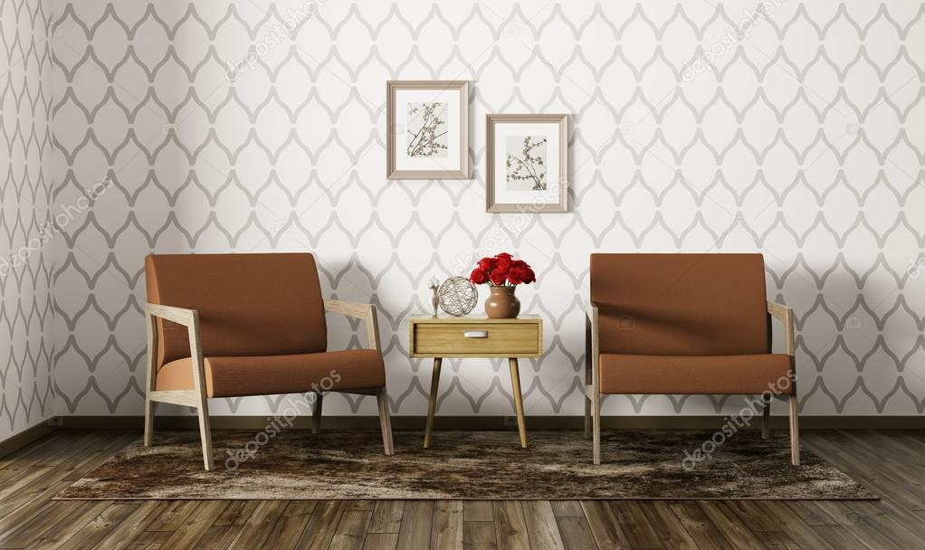 Interior of living room with armchairs 3d render