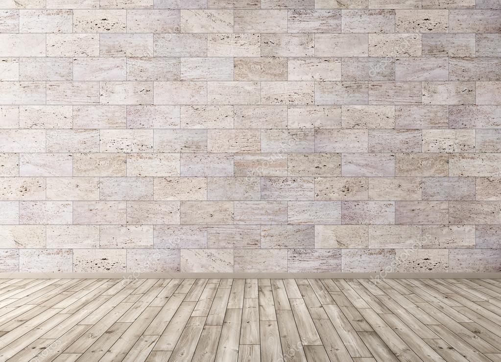 Stenen Muur Interieur : Interieur met stenen muur en houten vloer d render tegels