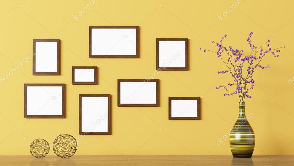 Leere Holzrahmen über gelbe Wand 3D-Rendering — Stockfoto © scovad ...