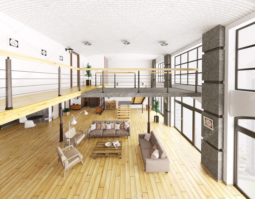 Rendu 3d De Loft Appartement Interieur Vue De Dessus