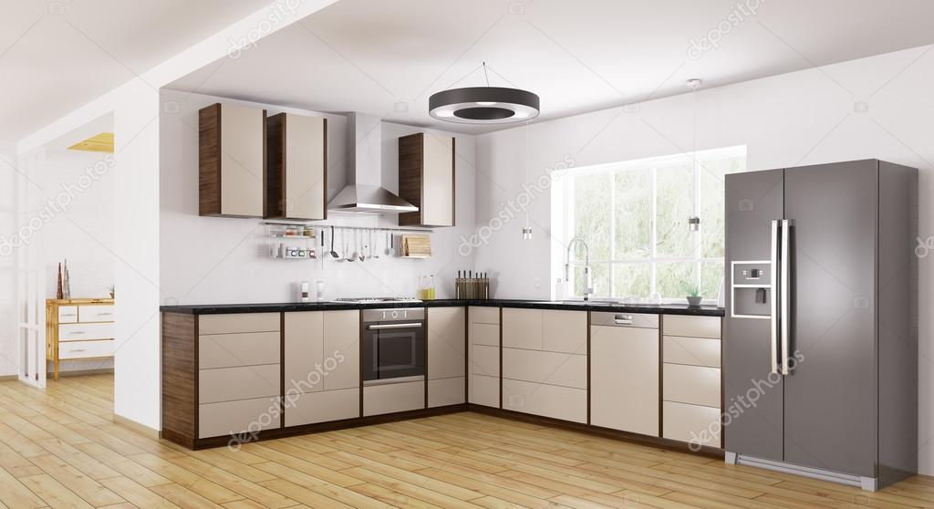 moderne Küche Interieur 3D-Rendering — Stockfoto © scovad #110166016