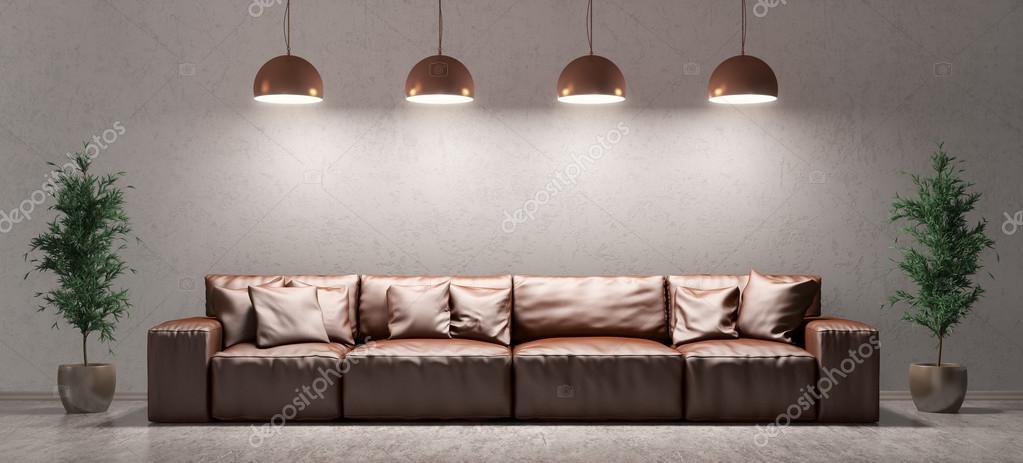 Interieur van een woonkamer met sofa over betonnen muur 3D-renderin ...