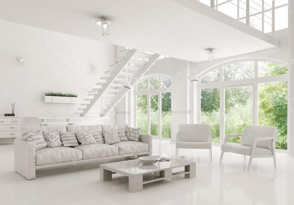Modern white living room interior 3d rendering — Stock Photo ...