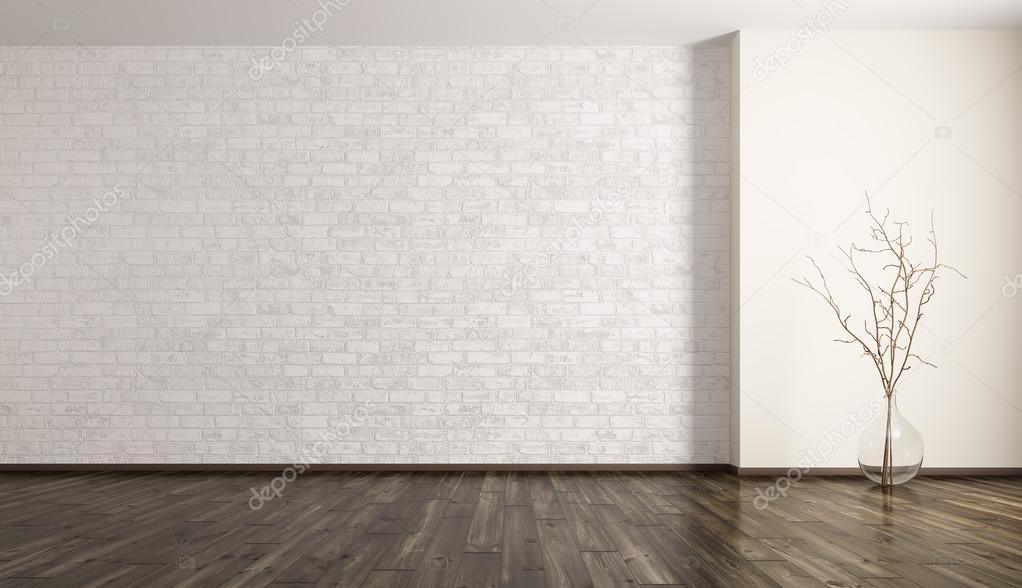 Chambre avec brique mur et verre vase rendu 3d ...