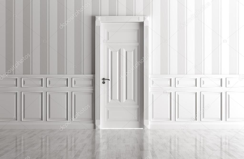 Klassiek Wit Interieur : Wit interieur met klassieke deur u2014 stockfoto © scovad #82505932