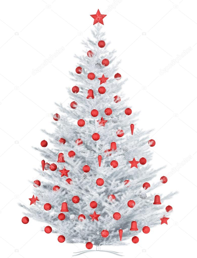 White Christmas tree geïsoleerd 3D-rendering — Stockfoto © scovad ...