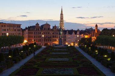 Cityscape of Brussels from Mont des Arts at dusk
