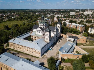 Aerial view to Monastery of Discalced Carmelites with Church of the Immaculate Conception in Berdychiv, Ukraine
