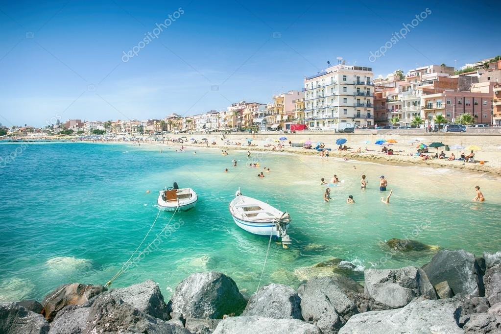 Beach in giardini naxos sicily u2013 stock editorial photo © pitrs10